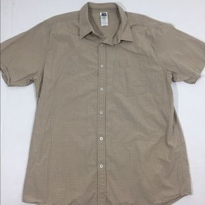 The North Face Tan Plaid Button Front Shirt XL